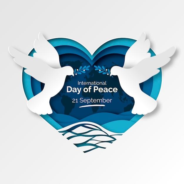 Międzynarodowy Dzień Pokoju W Stylu Papierowym Darmowych Wektorów
