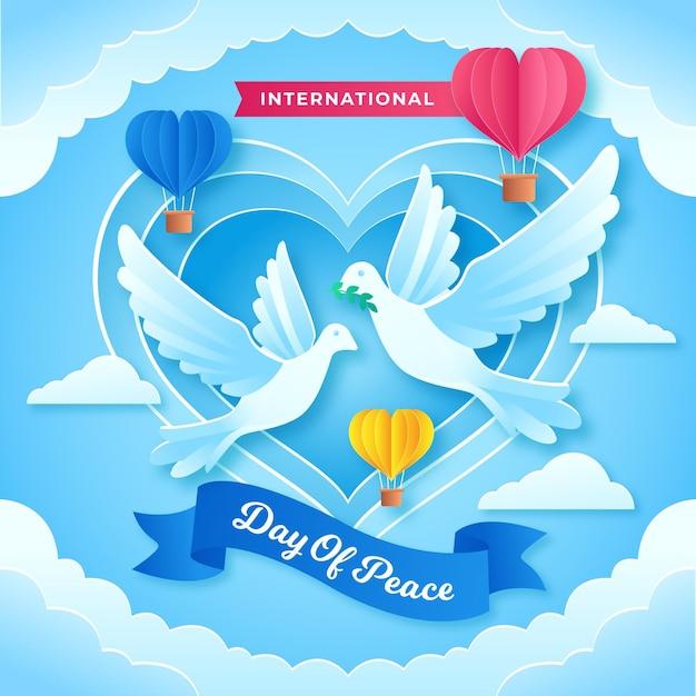 Międzynarodowy Dzień Pokoju Z Gołębiami I Sercem Darmowych Wektorów