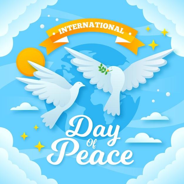 Międzynarodowy Dzień Pokoju Z Gołębiami I Ziemią Darmowych Wektorów