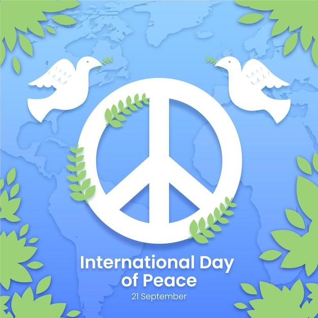 Międzynarodowy Dzień Pokoju Ze Znakiem Pokoju Darmowych Wektorów