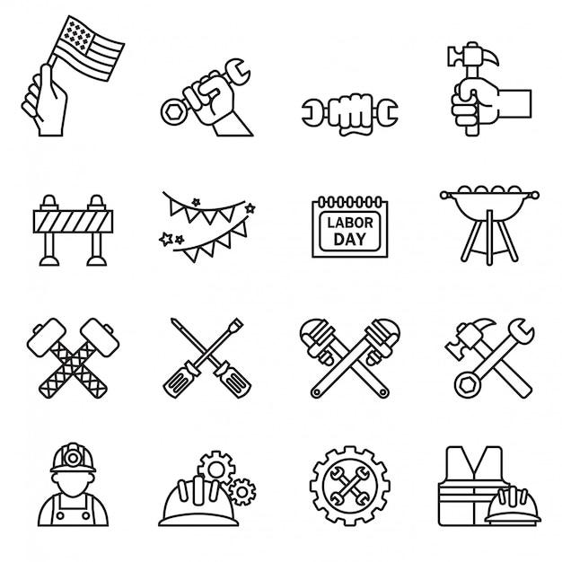 Międzynarodowy dzień pracy i ikona narzędzia przemysłu zestaw z białym tłem. cienka linia styl wektor. Premium Wektorów