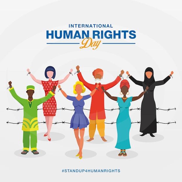Międzynarodowy Dzień Praw Człowieka Premium Wektorów