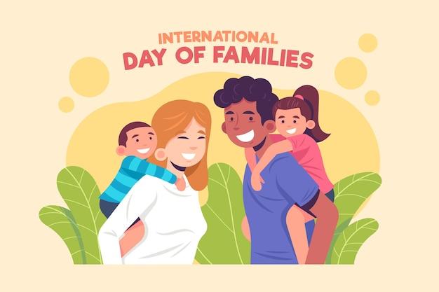 Międzynarodowy Dzień Rodzin W Płaskiej Konstrukcji Darmowych Wektorów