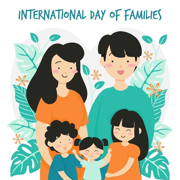 Międzynarodowy dzień rodzin z kwiatem w tle Premium Wektorów