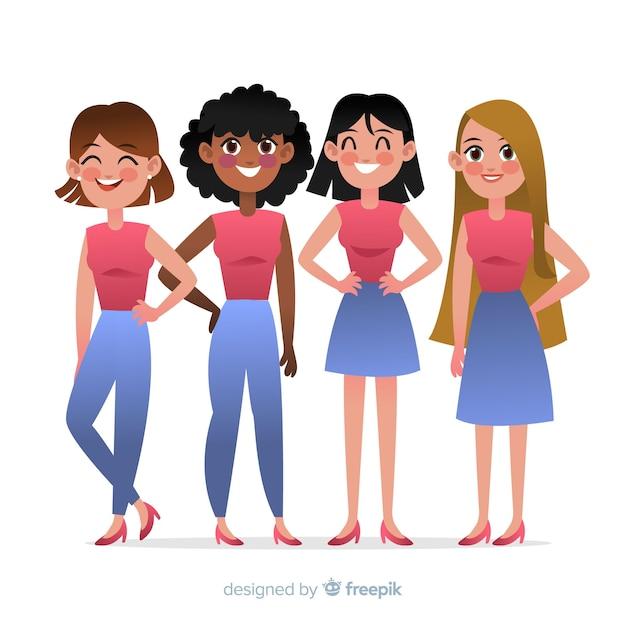 Międzyrasowa grupa kobiet backgrpund Darmowych Wektorów