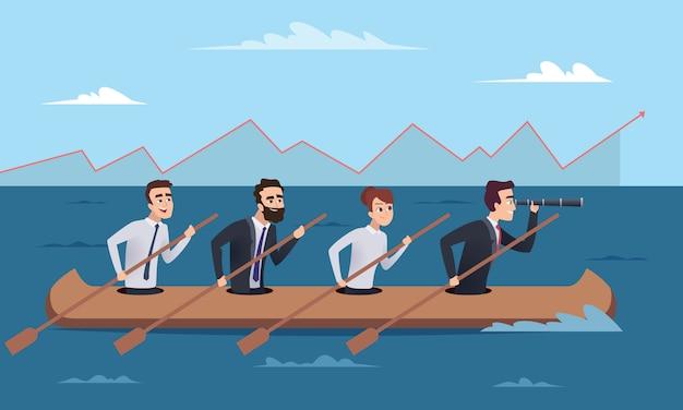 Miejsce Docelowe Drużyny. Grupa Menedżerów Odnoszących Sukcesy Biznesowe Idzie Do Lidera Koncepcji Dyrektora Premium Wektorów
