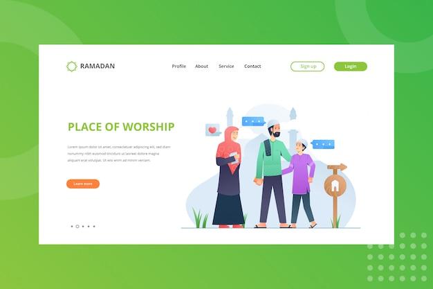 Miejsce Kultu Ilustracja Do Koncepcji Ramadan Na Stronie Docelowej Premium Wektorów