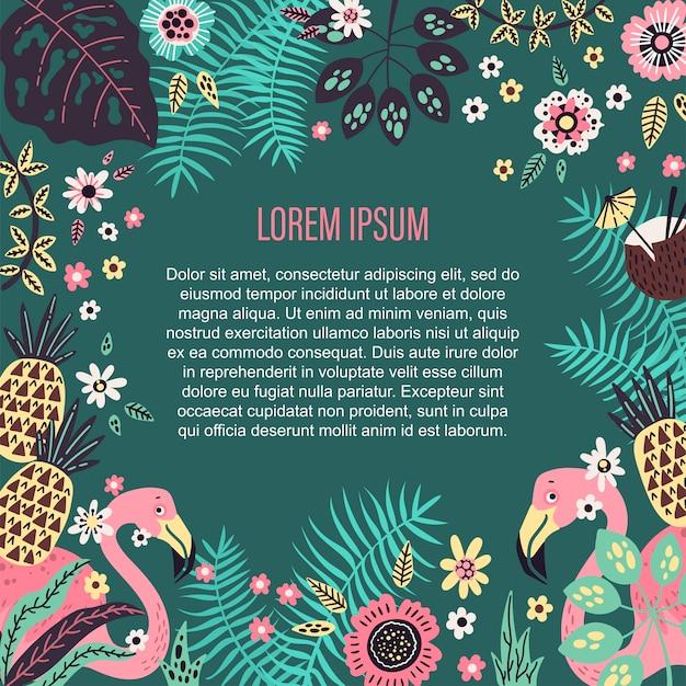 Miejsce na szablon tekstowy otoczony wektorowymi owocami tropikalnymi, roślinami i kwiatami. Premium Wektorów