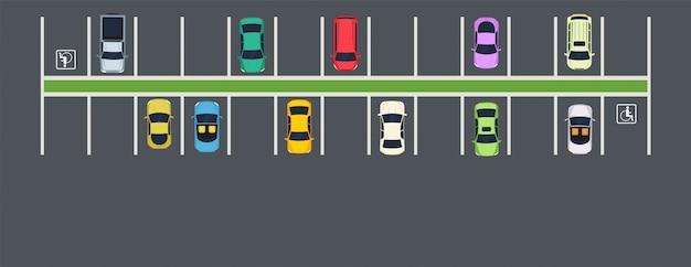 Miejsce Parkingowe Z Samochodami. Widok Z Góry Na Strefę Parkowania Miejskiego. Premium Wektorów