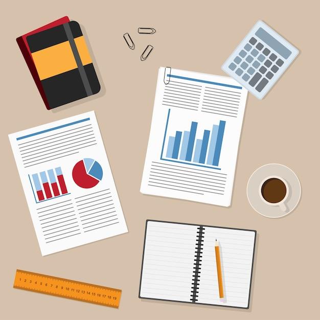 Miejsce Pracy I Elementy Pracy Biurowej - Papier, Ołówek, Linijka, Raport, Filiżanka Do Herbaty / Kawy, Dokumenty, Notatnik Itp. Premium Wektorów