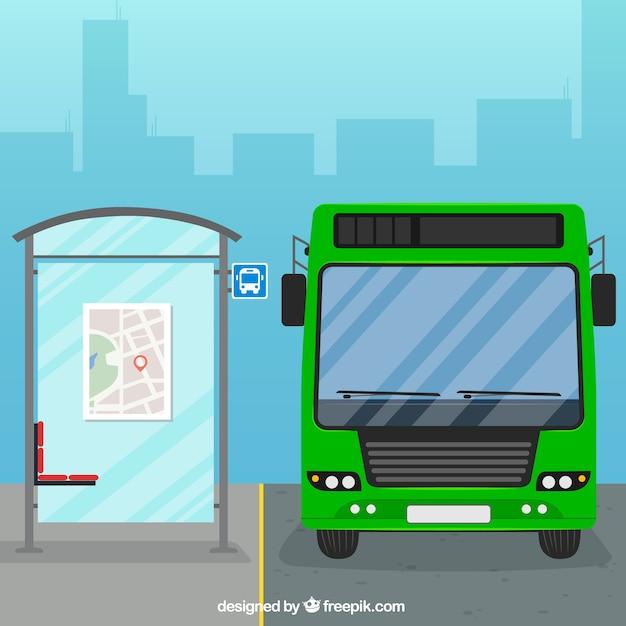Miejski autobus i przystanek autobusowy o płaskiej konstrukcji Darmowych Wektorów