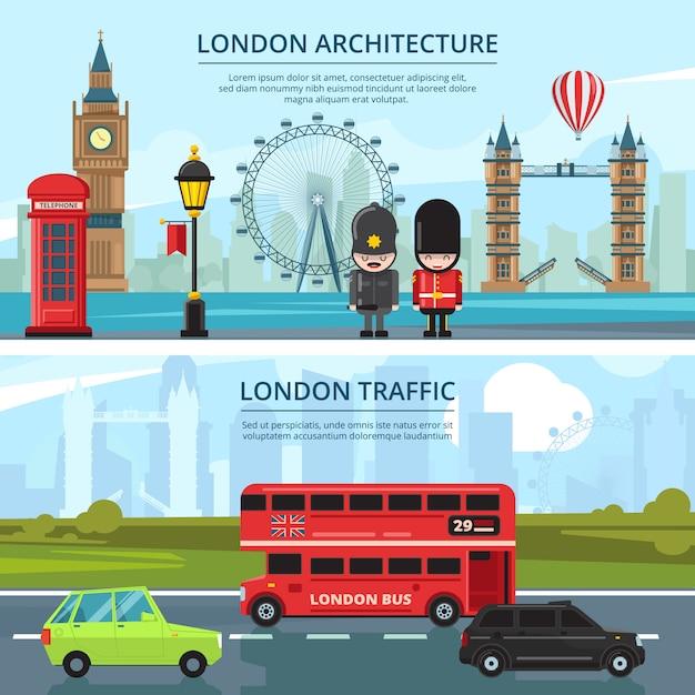 Miejski krajobraz londynu. Premium Wektorów