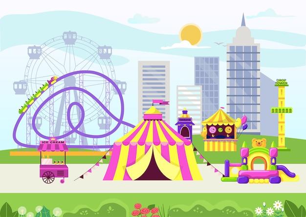 Miejski Park Rozrywki Z Cyrkiem Premium Wektorów