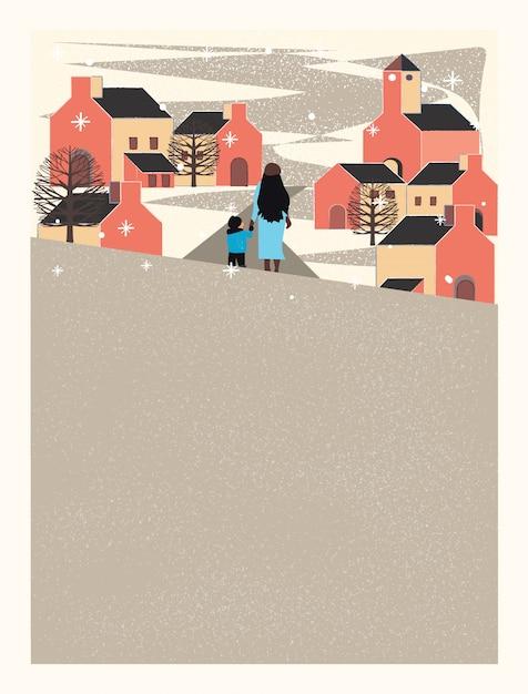Miejskie miasto zimą, matka i syn trzymają się za ręce i idą ulicą Premium Wektorów