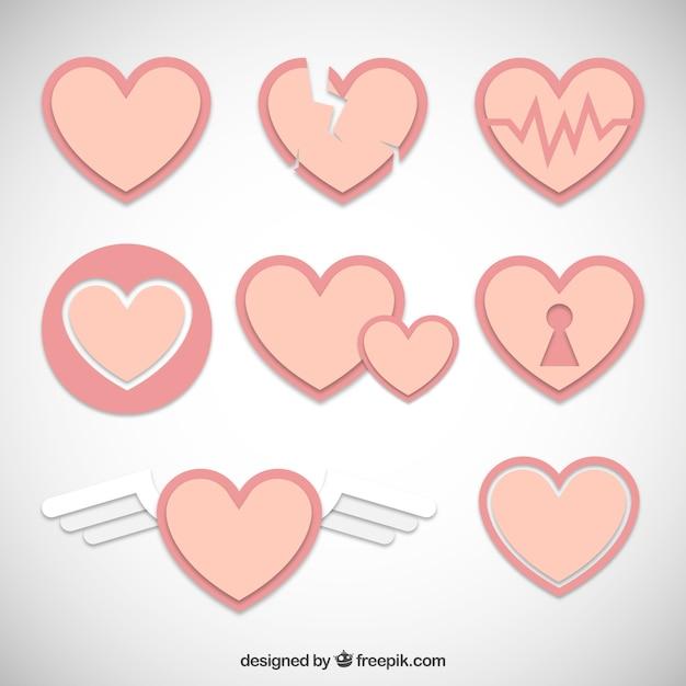 Miękkie Serce Valentine Kolorowe Opakowanie Darmowych Wektorów