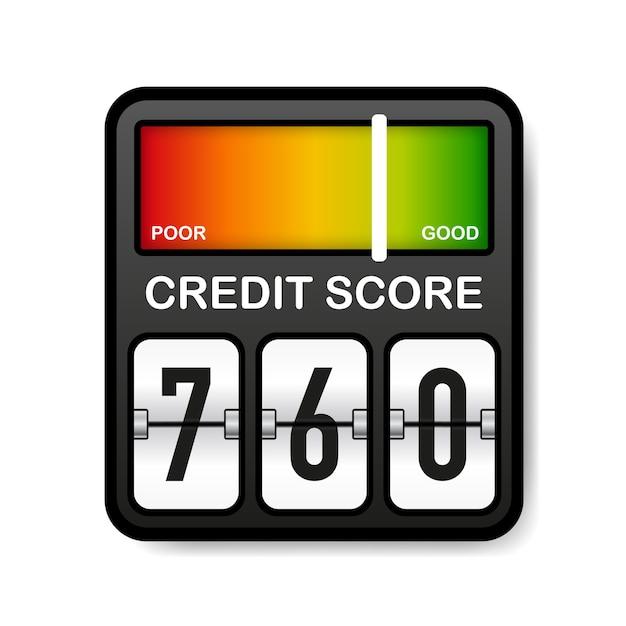 Miernik Zdolności Kredytowej. Ocena Dobra I Zła. Wynik W Skali. Premium Wektorów