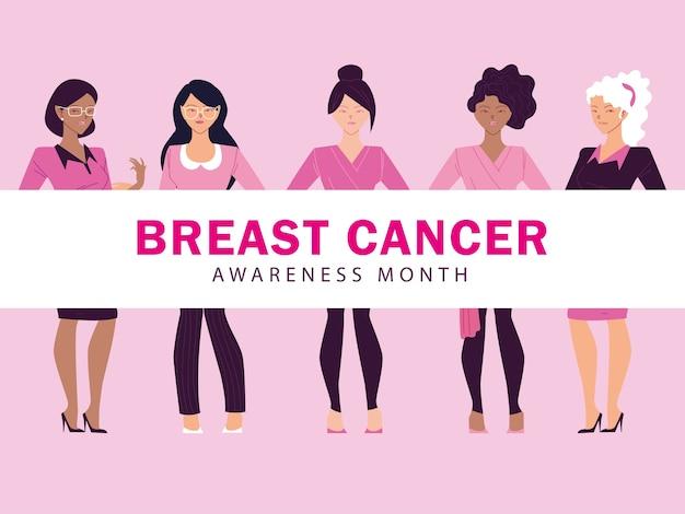 Miesiąc świadomości Raka Piersi Z Projektowaniem Kobiet Premium Wektorów