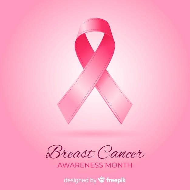 Miesiąc świadomości raka piersi z realistyczną wstążką Darmowych Wektorów