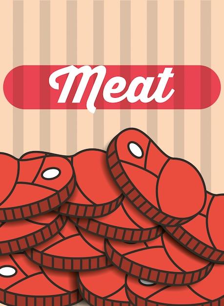 Mięso stek kawałki menu restauracji plakat Premium Wektorów
