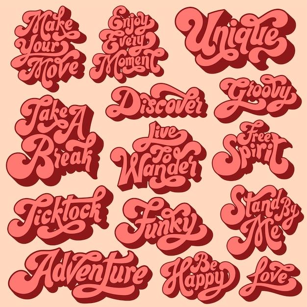 Mieszany zestaw typografii motywacyjnej Darmowych Wektorów