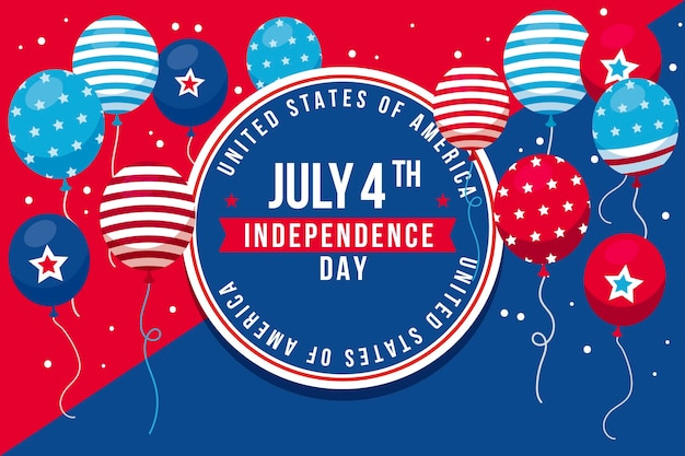 Mieszkanie 4 Lipca - Tło Balony Dzień Niepodległości Darmowych Wektorów
