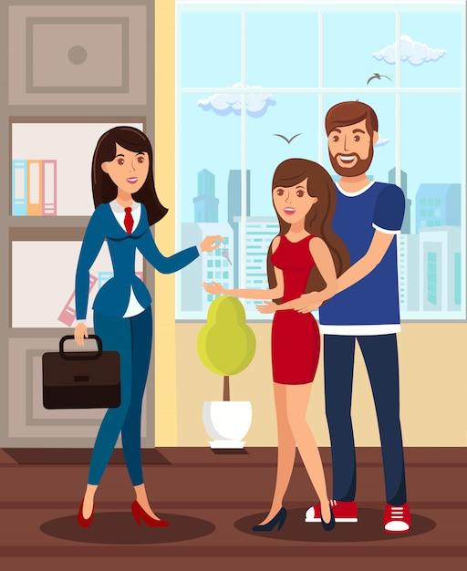 Mieszkanie Dla Nowożeńców Wynajmujące Mieszkanie Premium Wektorów