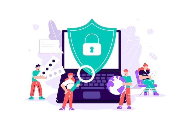 Mieszkanie Na Białym Tle. Pojęcie Ochrony Danych, Bezpieczeństwo Internetowe. Bezpieczeństwo Online, Bezpieczne Przeglądanie Internetu Premium Wektorów