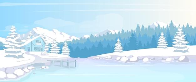 Mieszkanie W Zimowym Lesie Ilustracja Płaski Kolor Premium Wektorów