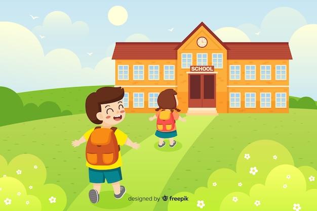Mieszkanie Z Powrotem Do Szkoły Premium Wektorów