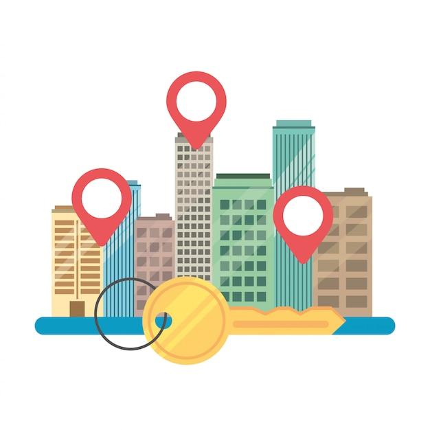 Mieszkaniec stanu rzeczywistego z lokalizacją i kluczem Premium Wektorów