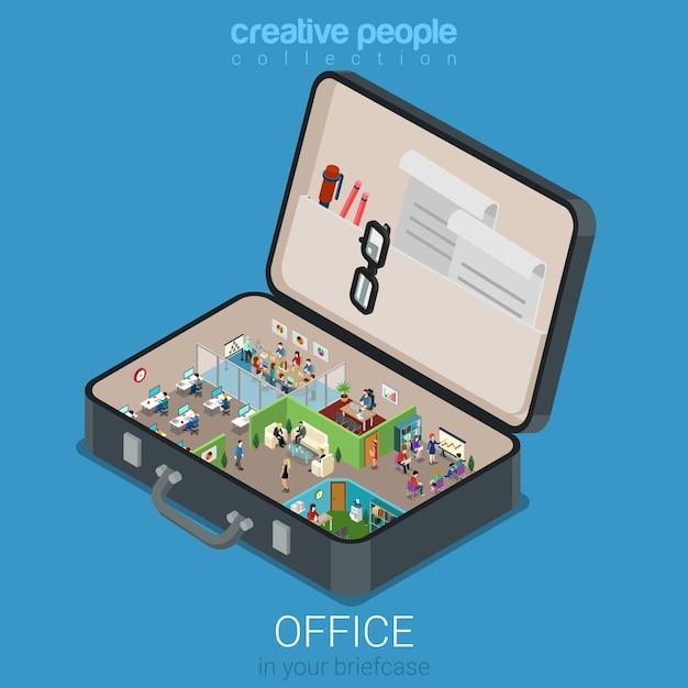 Mikro Mobilne Biuro W Koncepcji Dużej Teczki Płaska Koncepcja Infografiki Izometrycznej 3d Web Darmowych Wektorów