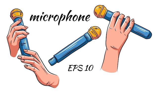 Mikrofon Wektor Zestaw. Mikrofon W Rękach Na Białym Tle Premium Wektorów