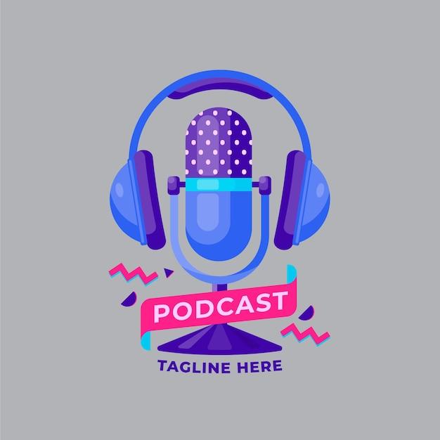 Mikrofon Z Szablonem Logo Słuchawki Darmowych Wektorów