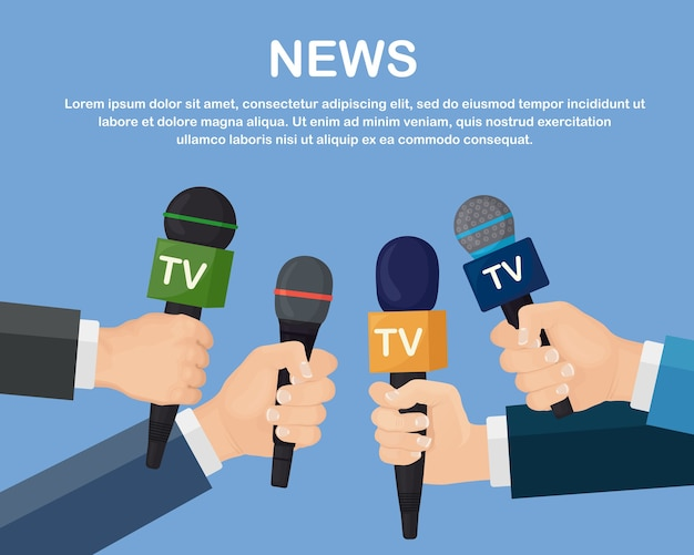 Mikrofony W Rękach Reporterów Na Konferencji Prasowej Lub W Wywiadzie Premium Wektorów