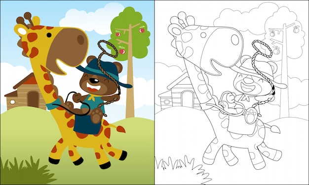 Miła Przejażdżka Kreskówka Niedźwiedź Na śmiesznej żyrafie Premium Wektorów