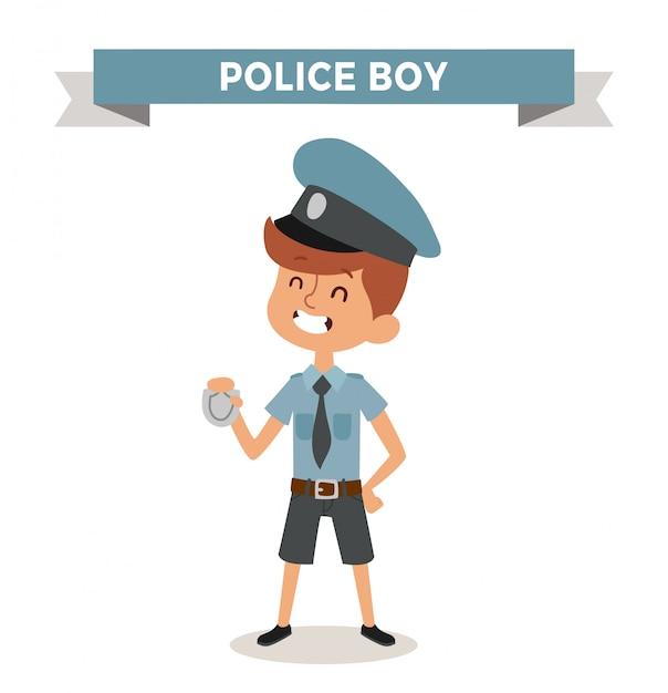 Milicyjna chłopiec z znakiem odizolowywającym Premium Wektorów