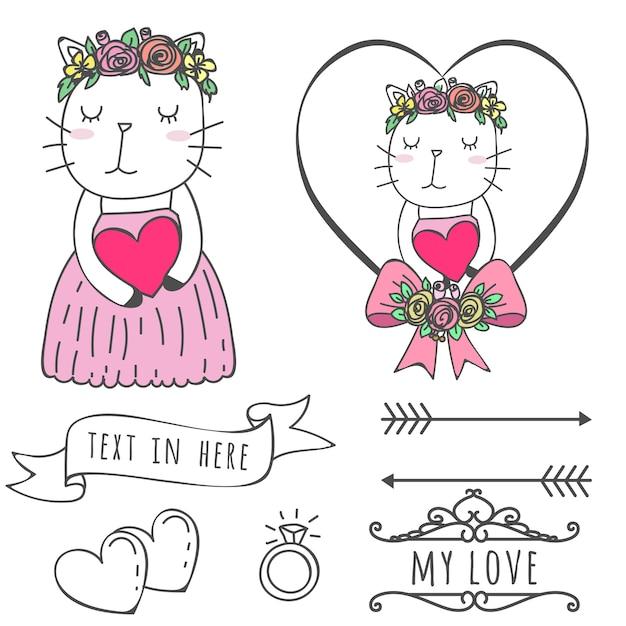 Miłość cute cat ślub wyciągnąć rękę Premium Wektorów