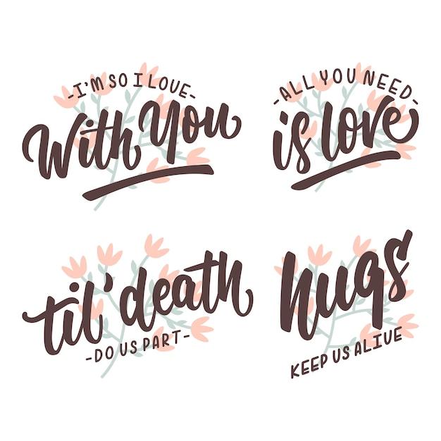 Miłość Cytaty Napis Plakat Trypography Wektor Premium