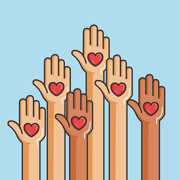 Miłość i darowizna dają i dzielą twoją miłość Premium Wektorów
