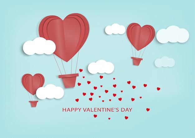 Miłość I Valentine Day.paper Sztuki I Rzemiosło Cyfrowy Styl. Premium Wektorów