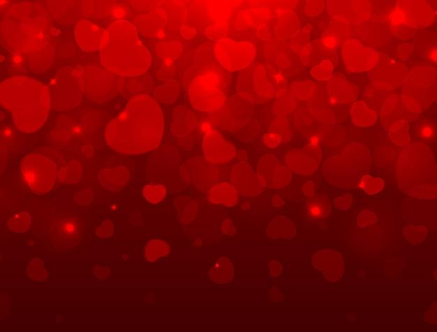 Miłość I Walentynki Jasnym Tle Z Czerwonym Sercem I Miejsca Na Tekst Premium Wektorów