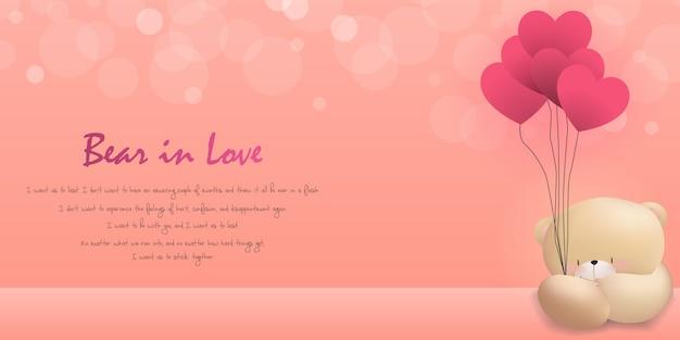 Miłość niedźwiedzia szczęśliwy walentynki różowy tło Premium Wektorów