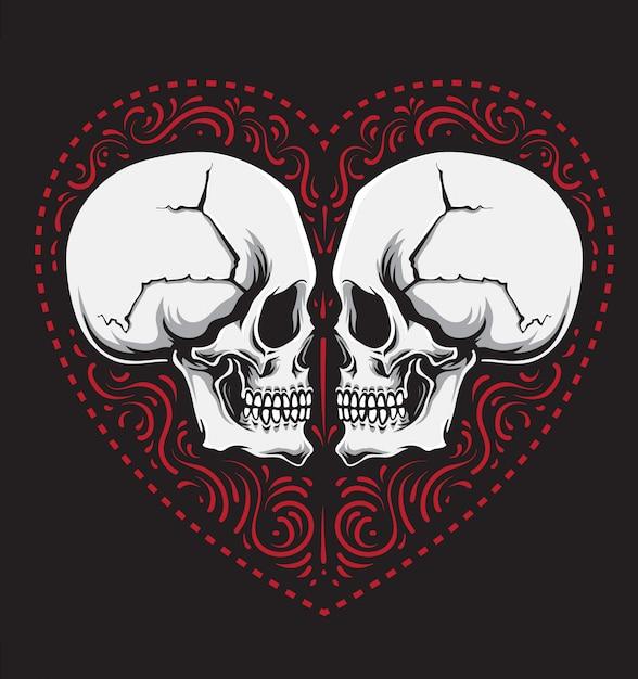 Miłość ozdoba czaszki Premium Wektorów