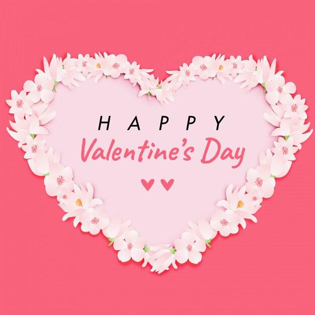Miłość Para Na Dzień ślubu W Różowe Kwiaty. Postać Z Kreskówki Walentynki Premium Wektorów
