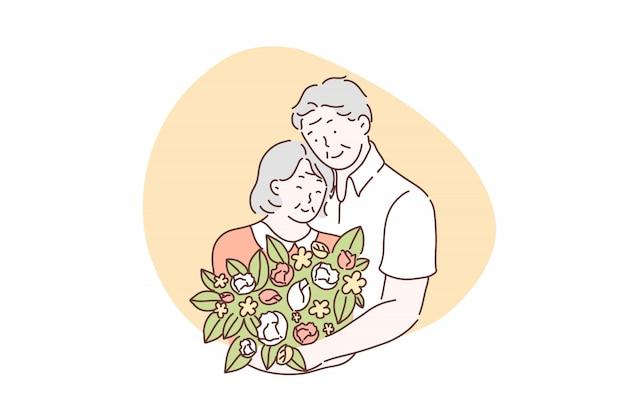 Miłość, przyjaźń, razem, koncepcja walentynki Premium Wektorów