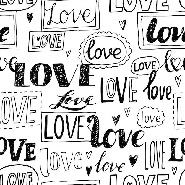 Miłość. Romantyczny Wzór. Premium Wektorów