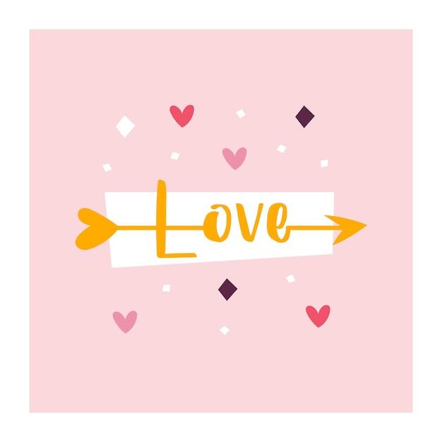 Miłość. Strzała Amora Z Napisem Miłość. Premium Wektorów