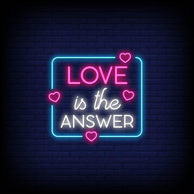 Miłość to odpowiedź na plakat w neonowym stylu. Premium Wektorów