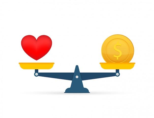 Miłość To Pieniądz Na Szalę. Równowaga Pieniędzy I Miłości W Skali. Ilustracja Premium Wektorów