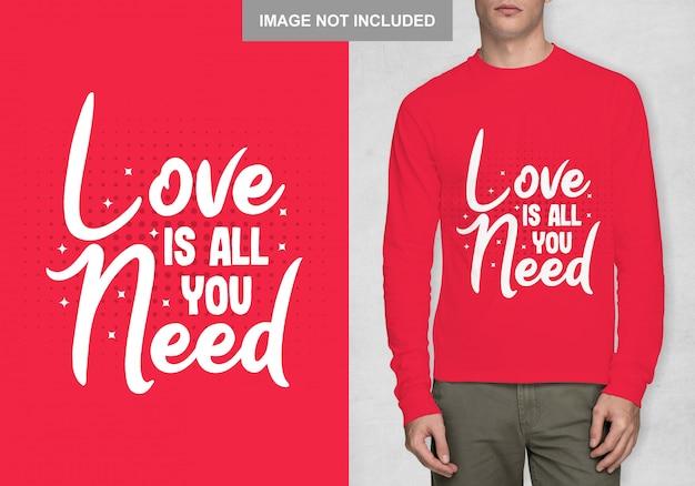 Miłość To Wszystko Czego Potrzebujesz Premium Wektorów